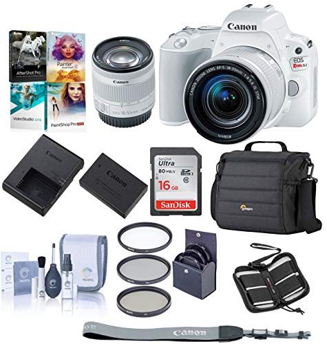 Canon EOS Rebel SL2 DSLR with EF-S 18-55mm f/4-5.6 IS STM Lens - White Bundle with 16 GB SDHC Card, Camera Case, 58mm Filter Kit, Cleaning Kit, Memory Wallet, Software Package