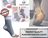 Lumino Cielo All-Day Compression Socks for Plantar Fasciitis Pain relief Ankle Support (can replace night Splint for morning pain relief) - sleeve style - 1 PAIR (S/M, White)