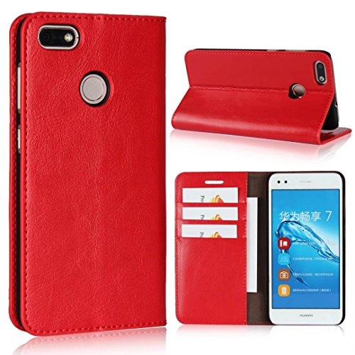Sunrive Für Huawei Y6 Pro 2017 / P9 lite Mini, Echt-Ledertasche Schutzhülle Hülle Standfunktion Flip Lederhülle Hülle Handyhülle Schalen Kreditkarte Handy Tasche(rot)+Gratis Universal Eingabestift
