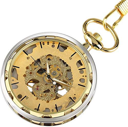 CMXUHUI Aspecto Hermoso, Mano de Obra Reloj de Bolsillo, Reloj de Bolsillo mecánico Transparente de Esqueleto clásico de la Cara Abierta Diseño de la Cara de la Mano Reloj Masculino