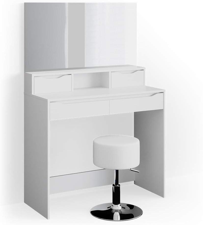 + Hocker /& Lampen Vicco Schminktisch Ruben wei/ß Spiegel Frisiertisch Frisierkommode mit Schubladen