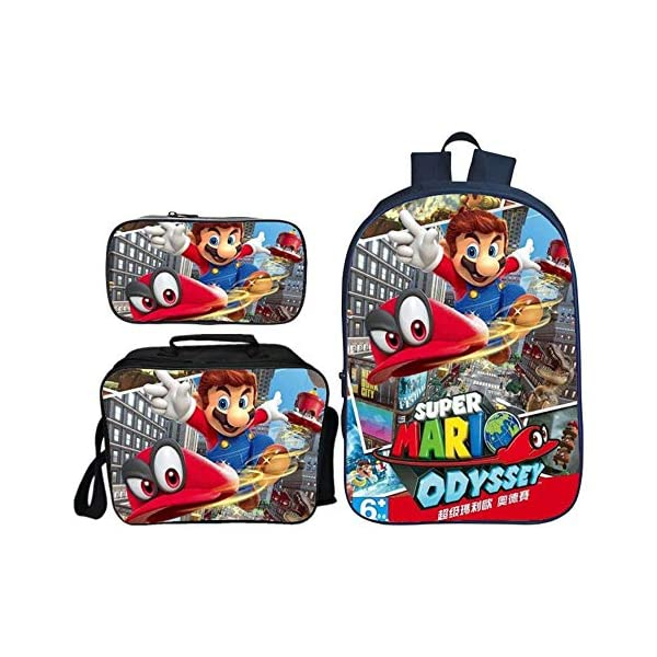 QWEIAS 3Pcs Mochila para niños – Super Mario Bros 3D Mochila Escolar para niños – 16 Pulgadas Mochila para niñas…