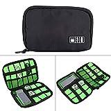 WXX Portable Travel Organizer Storage Collection Bag Case Pouch Digital Gadget Accesorios electrónicos, Tamaño: 25.7 * 18.5 * 1.2cm (Negro) (Color : Black)