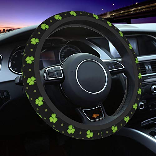 Steering Wheel Covers for Car, St. Patrick's Day Lucky Shamrocks Car Steering Wheel Cover for Women & Girls & Men, Universal 15 Inches Car Accessories