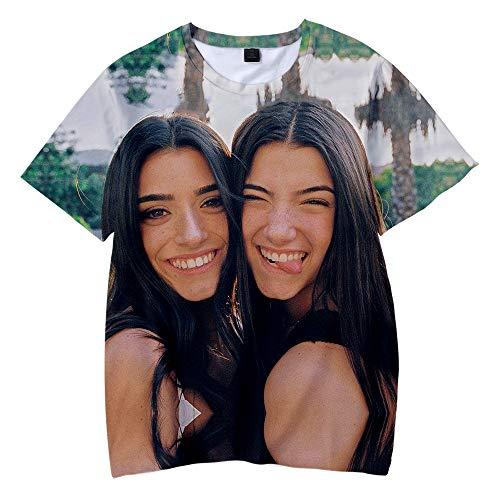 NCTCITY Nios Nias T-Shirts Camisetas de Manga Corta Charli D'Amelio Impresin 3D Camisa Suelta Casual Cuello Redondo tee Tops