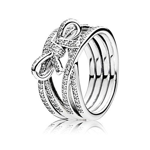 Pandora Damen Ring Zarte Gefühle in silber mit einer Schleife und Zirkonia Steinchen besetzt
