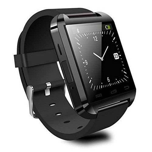 SmartWatch U Reloj Inteligente 8 (Bluetooth, Manos libres, Dial de llamadas, Cámara Remota, Pulsera Deporte, Hombre, Mujer, Reloj Fitness con Podómetro, Cronómetro, Barómetro, Anti-perdida) - Negro