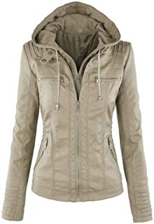 chenshiba-AU Womens Large Size Slim Fit Faux Leather Zip up Hooded Jacket Coat Outwear