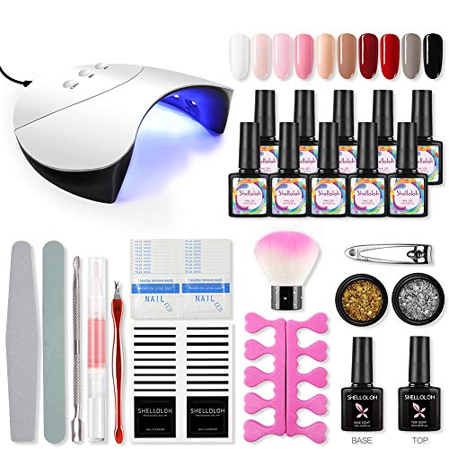 Shelloloh Semi-permanente gellakset voor beginners - Nail Art Tool Kit Nagelgelset 36W UV/LED-lamp 10 kleuren Set Gellak Perfect DIY-geschenk