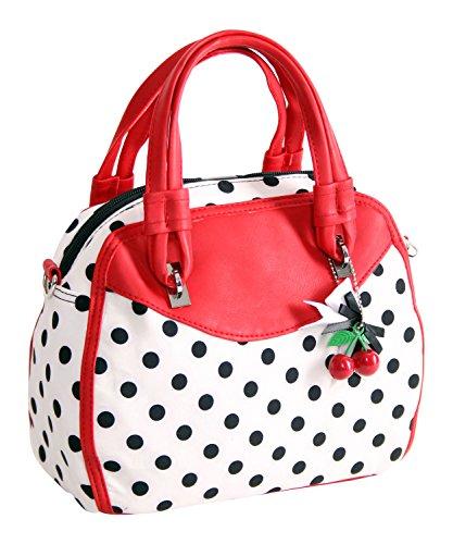 SugarShock Damen Handtasche Elsa Polka Dots, Farbe:weiss