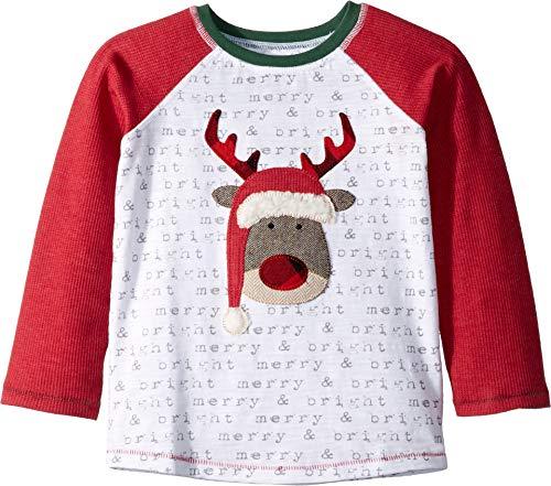 Mud Pie Baby Boy's Reindeer Long Sleeve Raglan Christmas T-Shirt (Infant/Toddler) White LG (4T-5T Toddler)