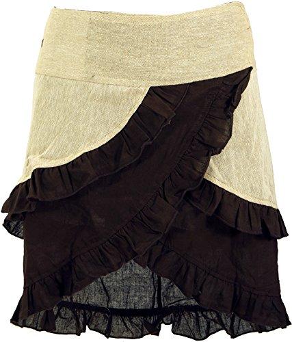 Preisvergleich Produktbild Guru-Shop Wickelrock,  Mini Wickelrock,  Damen,  Beige / Coffee,  Baumwolle,  Size:L / XL (40),  Röcke / Kurz Alternative Bekleidung
