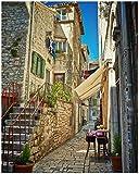 Wallario Poster - Romantische Gasse in Kroatien Mitten in