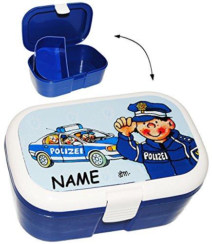 alles-meine.de GmbH Lunchbox / Brotdose -  Polizei Auto & Polizist  - incl. Name - mit extra Einsatz / herausnehmbaren Fach - Brotbüchse Küche Essen - für Mädchen & Jungen - Po..