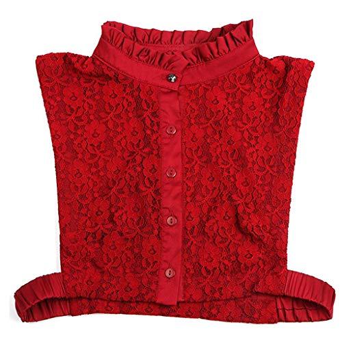 GROOMY Cuello Falso, Mujeres Color Puro Huecos de Encaje Solapa Desmontable Gargantilla Collar Camisa Falso Cuello Falso Camisa de Moda Accesorios de Ropa-Vino Tinto