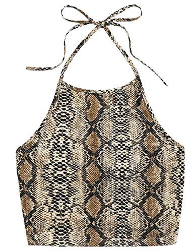 Romwe Women's Casual Snakeskin Print Sleeveless Vest Halter Cami Crop Top Multicolor L