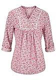 Cheer - Blusa estampada para mujer, con bordado, multicolor,