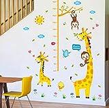 Wandaufkleber Schlafzimmer Wohnzimmer Cartoon Giraffe Höhe Aufkleber Lustiges Tier Kinder Baby Höhe Wachsen Wandtafel Home Dekorieren: 60 * 90Cm