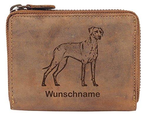 Greenburry Damen-Geldbörse PERSONALISIERT Wunschnamen mit Hunde-Motiv Rhodesian Ridgeback, Leder Damen-Geldbeutel, Braun