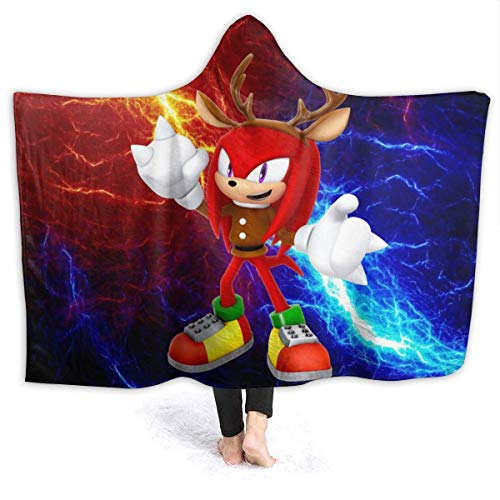 CHICLI Winter Hooded Blankets for Men Women, Knuckles The Echidna Christmas Reindeer Sonic Fan Art Wearable Blankets for Music Festival, Outside, Recliner, Washable Warm Moving Throw Blanket