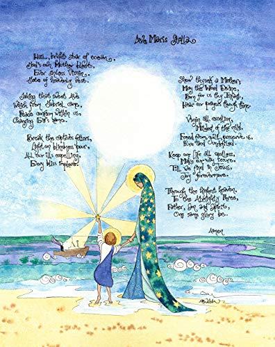 Mary Star of the Sea 5x7 Ave Maris Stella - Catholic Prayer Art