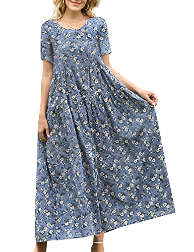 YESNO Women Casual Loose Bohemian Floral Dress with Pockets Short Sleeve Long Maxi Summer Beach Swing Dress (M EJF CR8)