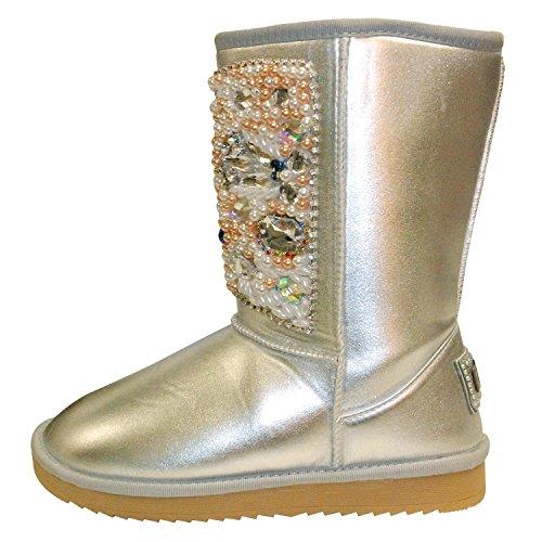 Unbekannt Damen Boots Winterfellstiefel Winterboots Schlupfstiefel gefüttert mit Perlen Silber (39)