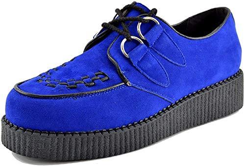 Kick Footwear Herren Flach Plateau Keil Schnüren Gothic Punk Leisetreter Creepers Schuhe Größe - UK5 / EU38 Womens, Royal Blau