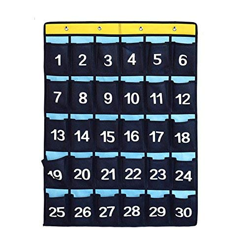 TANG Nummeriertes Klassenzimmer/Büro, Taschen-Diagramm für Handys, Visitenkarten, Wandaufhängung, Organizer mit Metallhaken