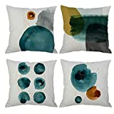 Pack of 4 Abstract Geometric Doodle Throw Pillow Cover Decorative Cushion Cover 18x18 Watercolor Painting Graffiti Dot Circle Stone Green Navy Blue Brown Hidden Zipper Home Decor Spring Fall Couch