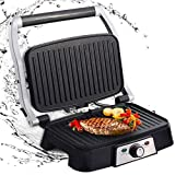 Aigostar Hitte 30HFA - Multifunctional grill, plancha, panini press, sandwich maker. 1500W, non-stick plates, 180º opening, adjustable intensity, cold frame. Silver color.