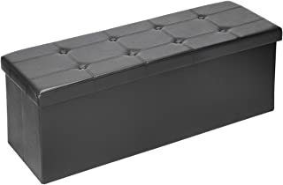 Amooly XL Faux Leather Folding Storage Ottoman Bench, 43 inch Storage Chest Footrest Padded Seat Black