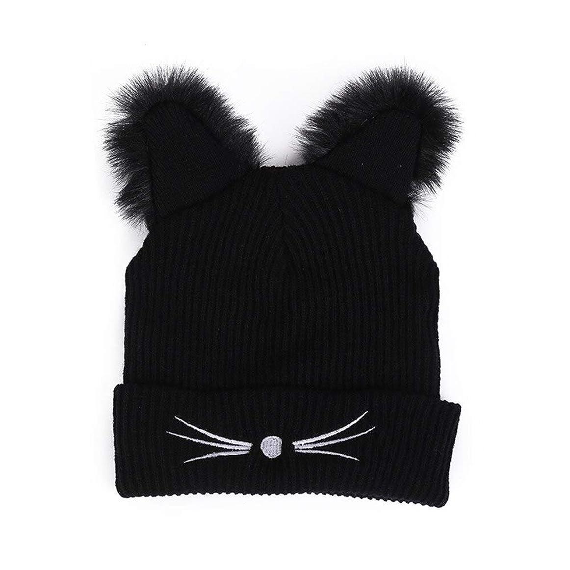 気になる行列追い出すPIAO の耳女性の帽子ニットアクリル暖かい冬のビーニーキャップかぎ針ファー屋外キャップ # YL5帽子 レディース 冬