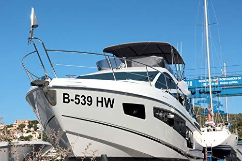 Shirtstown Bootskennzeichen Bootsnummer Bootbeschriftung, selbsklebende Folie, vers. Größen für Boote, GFK, Segelboote, Angelkahn, Kajak, Ruderboot, Aufkleber 2 Kennzeichen, Höhe 8cm