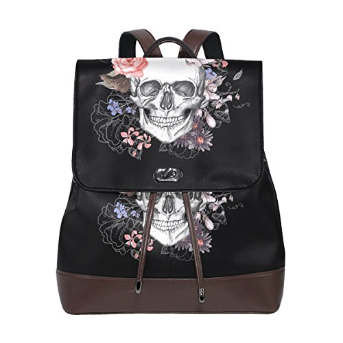 KUWT Day of the Dead Sugar Skull PU Leather Backpack Rose Flower Shoulder Bag School College Book Bag Rucksack Casual Daypacks for Women Teen Girls