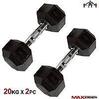 Max Strength - Mancuernas hexagonales de Goma con Mango ergonómico encased (2,5 kg Individual)