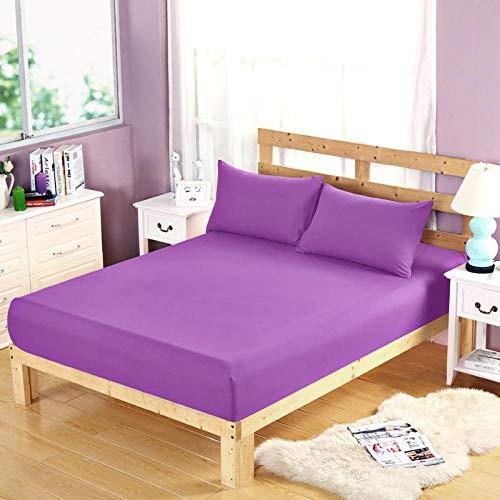 HPPSLT Protector de colchón, algodón, poliéster, Sábana cepillada Color sólido Antideslizante-púrpura Puro_150 * 200cm
