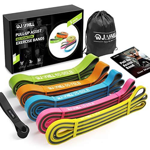 JOYHILL Widerstandsbänder Klimmzug, Fitnessbänd 5 Stärken für Terra Band, Muskelaufbau und Crossfit Freeletics Calisthenics, mit Tasche, Türanker und Übungsguide (5PCS)