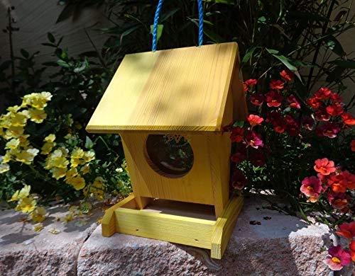 Futterhaus BTV-VOFU1K-gelb002 Groß - PREMIUM Vogelhaus Vogelfutterhaus gelb hellgelb Sonne Vogelhäuser, als Ergänzung zum Meisen Nistkasten Meisenkasten oder zum Insektenhotel, Futterstation für Vögel, Vogelhäuschen / Vogelvilla zum Hängen und Aufstellen von BTV