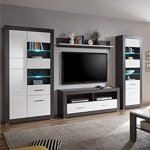 Lomadox Wohnzimmer Wohnwand weiß Hochglanz & Betonoptik dunkel, 2 Standvitrinen mit LED