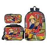Sac à dos 3 en 1 pour enfant Sam le pompier avec sac à dos isotherme et trousse à crayons, style 9, taille unique