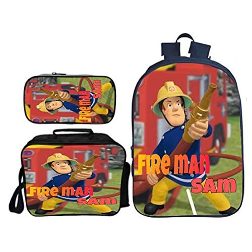 Mochila para niños con diseño de bomberos Sam 3 en 1, con bolsa de almuerzo aislada, estuche para lápices, estilo9, Taille unique