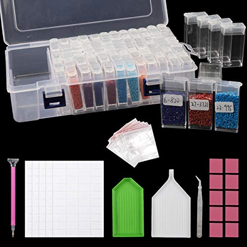 Dsaren 50 Pcs 5D Diamond Painting Accessoires Kit avec Boîte de Rangement Diamant, Point Stylo Rapide, Colle, Plaque de Diamant et étiquette pour DIY Artisanat