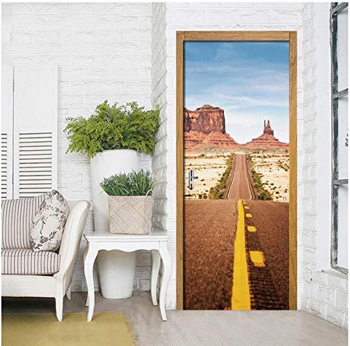 Creatieve 3D-deur sticker gebogen snelweg landschapsdruk Artwork Home Decoration PVC Poster waterdicht behang afbeelding zelfklevende update 77 * 200cm