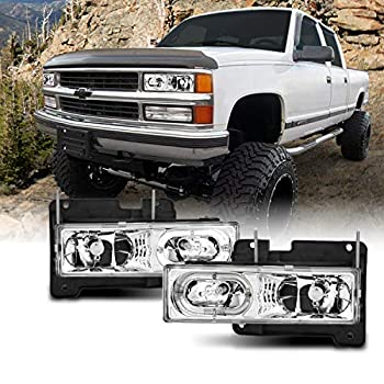 AmeriLite Clear Crystal LED Halo Headlights Pair for Chevy Fullsize Truck/SUV - Passenger and Driver Side
