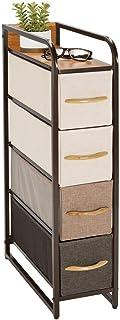 mDesign Cómoda de tela – Práctico organizador de armarios con 4 cajones extraíbles – Sistema de almacenamiento estrecho para el dormitorio o el pasillo – multicolor/marrón
