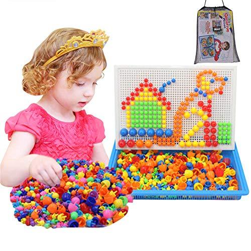Steckspielzeug Mosaik Steckspiel Kinder Pädagogisches Kinderspielzeug Kreatives Spielzeug Jungen Mädchen Steckmosaik Steckbausteine 592 Stücke Bausteine Kinder Lernspielzeug für Geschenk