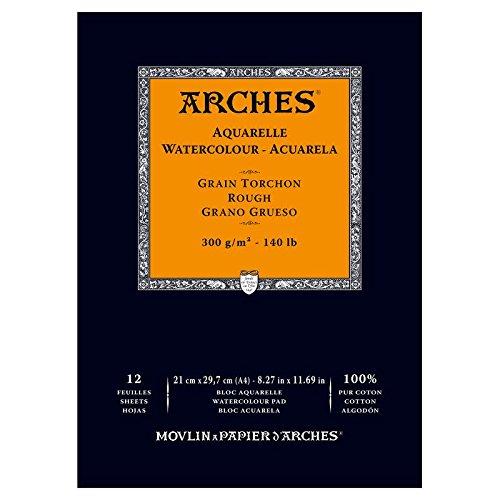 Arches - Papel de acuarela, bloc 12 hojas engomado 1 lado, grano grueso, 300 g/m², A4