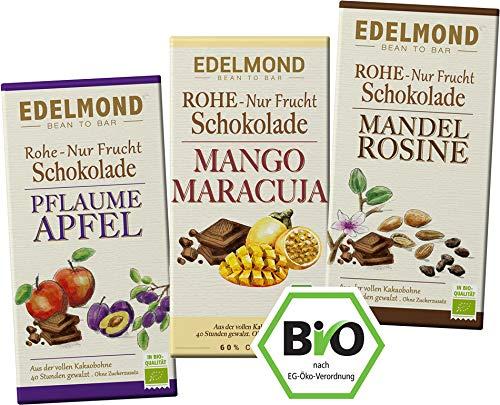 Edelmond 3er Schokoladen Box. Rohkost Früchte ohne Zucker. Bio fair trade Kakaobohnen. Zartbitter (3 Tafeln)