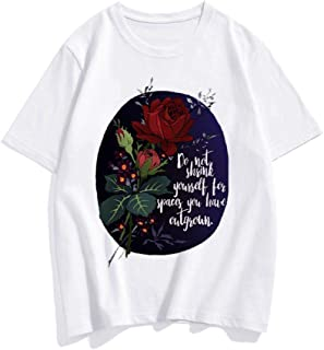 Summer Round Neck Rose Printed Short Sleeve T Shirt Casual Loose Top Fashion Blouse Female Tee Plus Size for Women Men